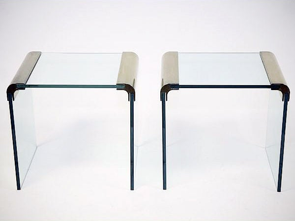 Pair Of Brass And Glass Waterfall Occasional Side Table By