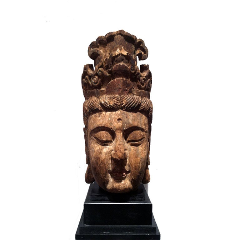 Large Polychromed Wood GuanYin Head on Stand