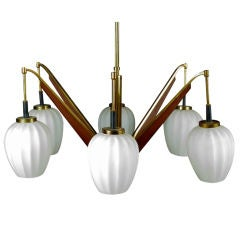 Two six lights Italian chandelier att to Stilnovo