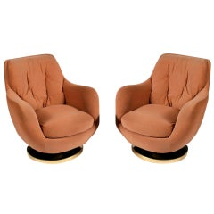 Pair of swivel lounge chairs Milo Baughman Thayer Coggin