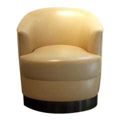 Leather and Chrome Lounge Chair Karl Springer
