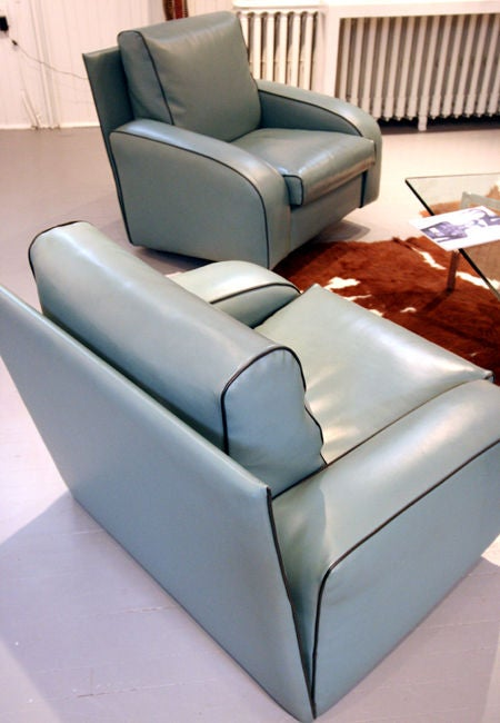 Pair of art deco style club lounge chairs pace italia at for Art deco style lounge