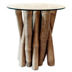 Occasional Center Table Sculpted Bamboo Clustered Base