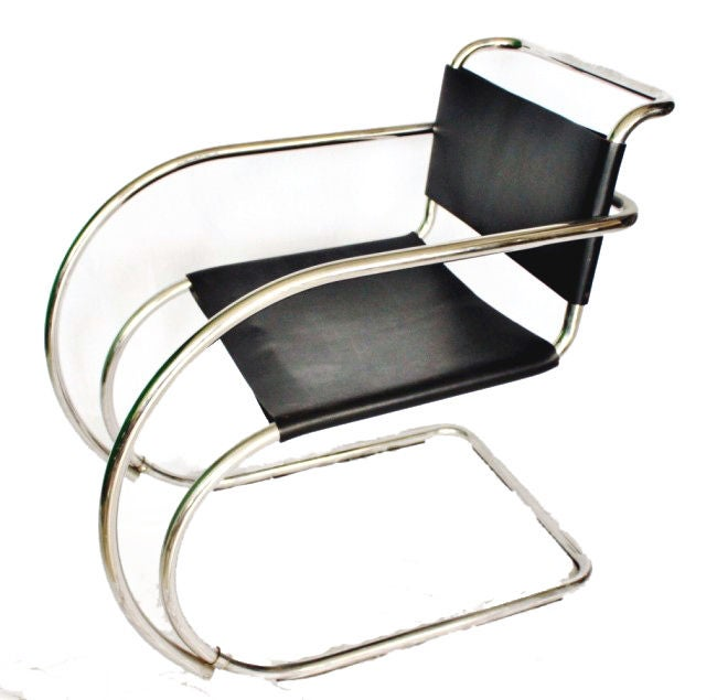 Pair MR 20 Lounge Chairs Mies Van Der Rohe At 1stdibs