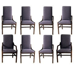 Eight vintage walnut dining chairs by Henredon
