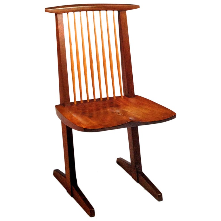 A Special Walnut Conoid Chair by George Nakashima For Sale