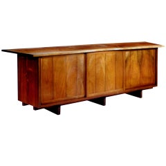 Long Walnut Sideboard with Free Edge Top George Nakashima
