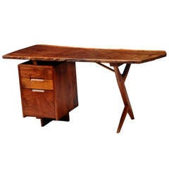 Rare walnut and laurel wood cross legged desk with drawes George Nakashima