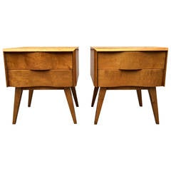 Pair of Wavy Front Nightstands by Edmond J. Spence