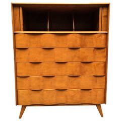 Wavy Front Tall Dresser by Edmond J. Spence