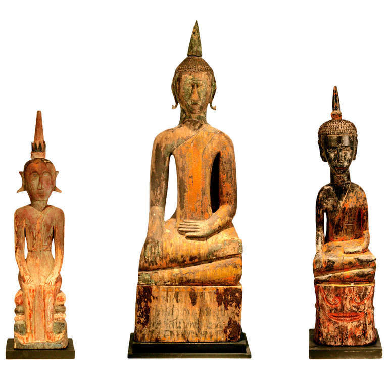 Three Village Buddha Statues from Laos For Sale