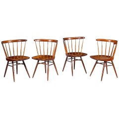 Early Set of Four Straight Back Chairs by George Nakashima