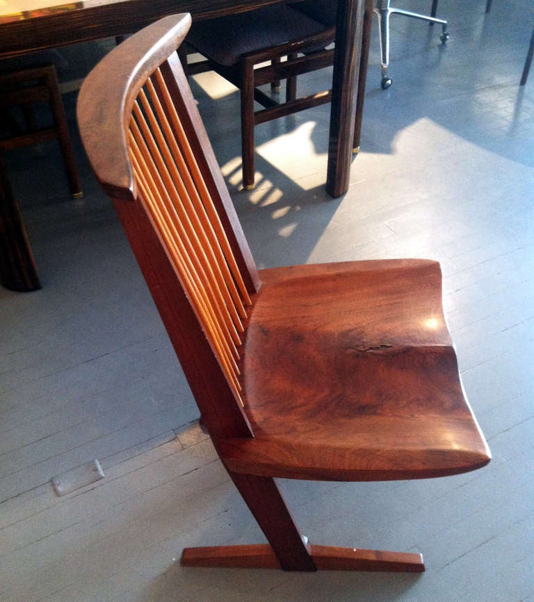 American A Special Walnut Conoid Chair by George Nakashima For Sale