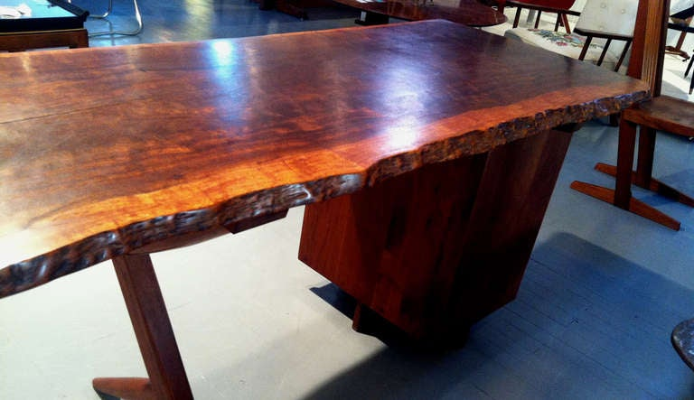 Rare Walnut And Laurel Wood Cross Legged Desk With Drawers