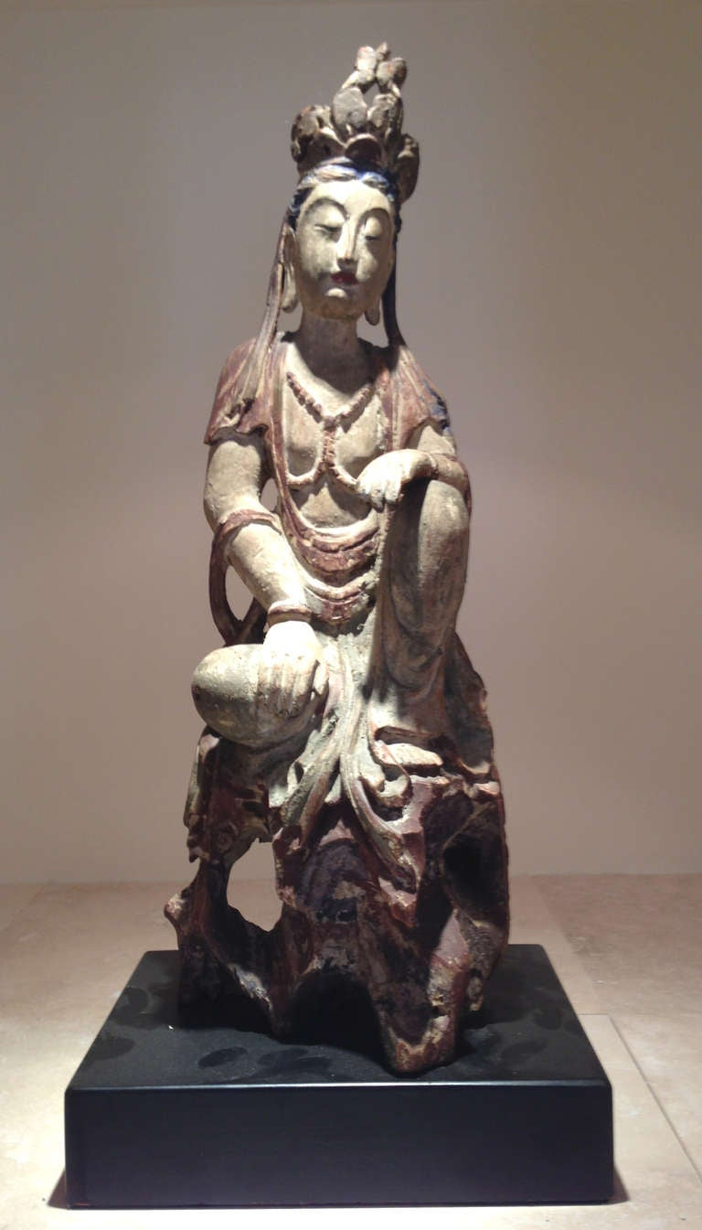 Pair Of Chinese Wood Statues Of Guanyin The Goddess Of