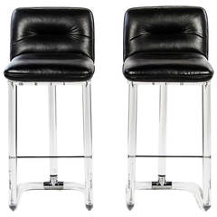 Pair of Signed Swivel High Chairs or Bar Stools by Lion in Frost