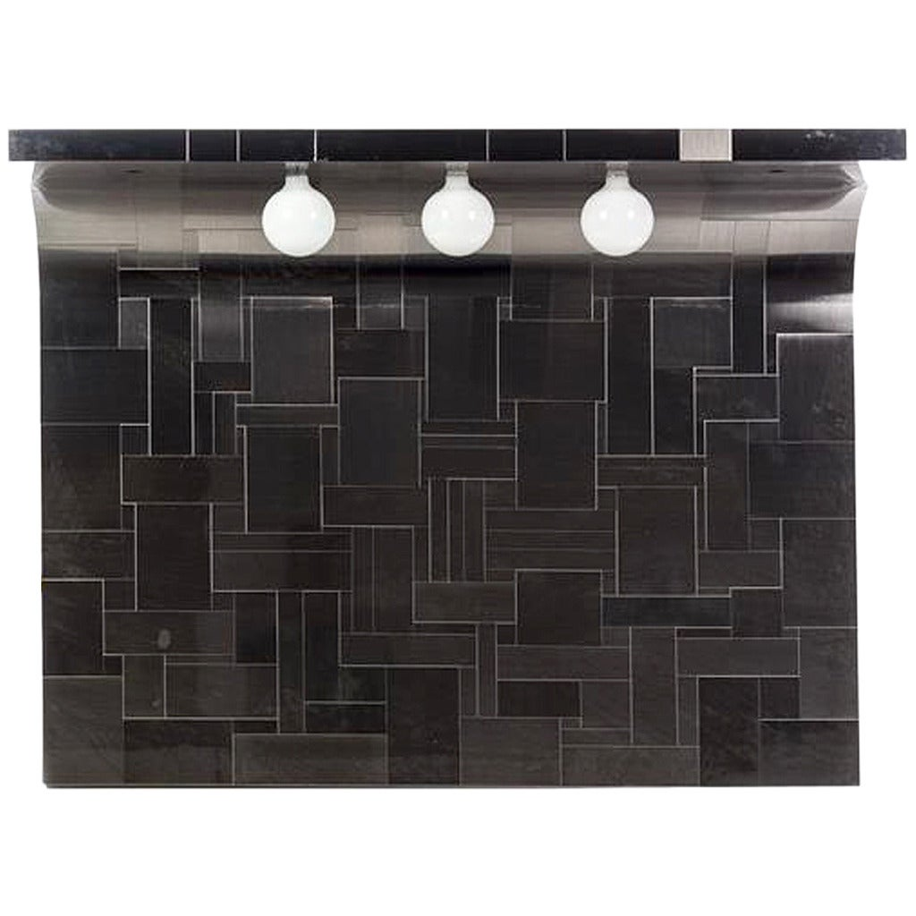 One of the Pair Cityscape Headboard with Lights Paul Evans for Directional