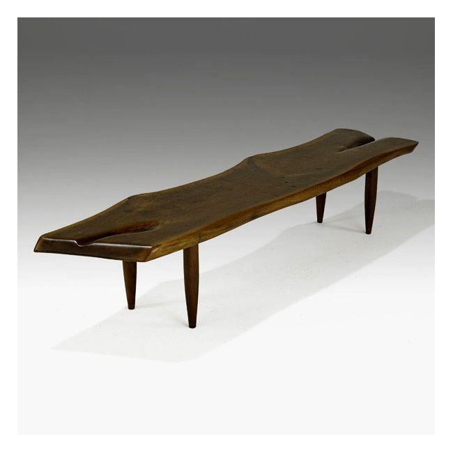 Carved American Walnut Coffee Table Bench Phillip Lloyd Powell At 1stdibs