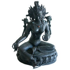 Antique Bronze bejeweled Tara from Nepal