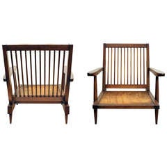 Pair of Walnut Arm Lounge Chairs by George Nakashima
