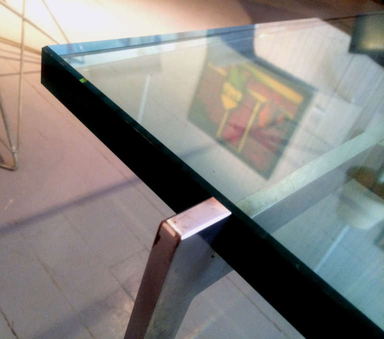 Danish glass top coffee table PK-61 Poul Kjaerholm For Sale 3
