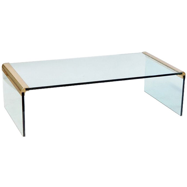 Large italian glass and brass waterfall coffee table pace for Big glass coffee table