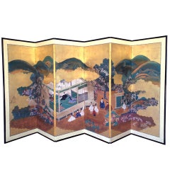 A Japanese antique floor screen