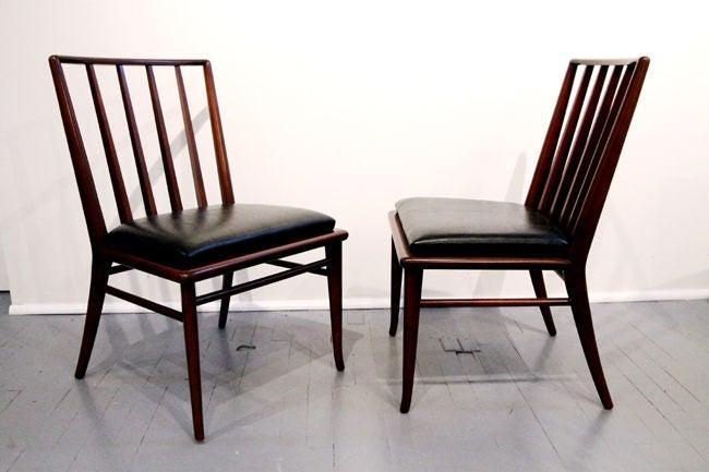 Mid-Century Modern Set of Six walnut dining chairs T.H. Robsjohn-Gibbings Widdicomb For Sale