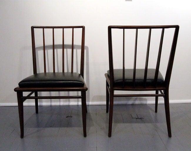 American Set of Six walnut dining chairs T.H. Robsjohn-Gibbings Widdicomb For Sale