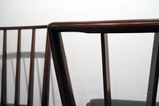 Walnut Set of Six walnut dining chairs T.H. Robsjohn-Gibbings Widdicomb For Sale