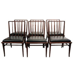 Set of Six walnut dining chairs T.H. Robsjohn-Gibbings Widdicomb