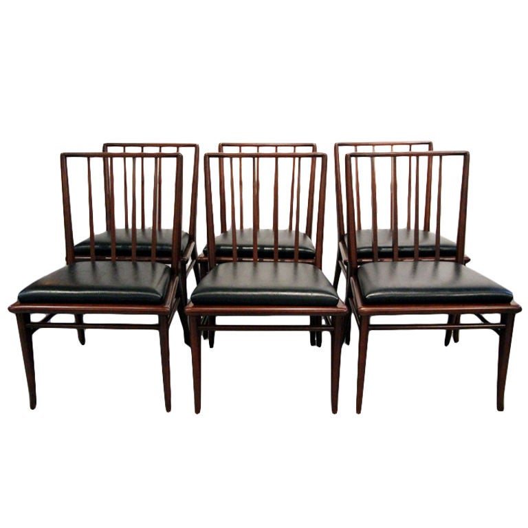 Set of Six walnut dining chairs T.H. Robsjohn-Gibbings Widdicomb For Sale