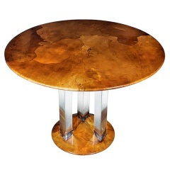 Goatskin Parchment Lucite Round Dining Center Table Karl Springer