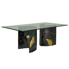Sculptured Steel Dining Table Paul Evans Directional