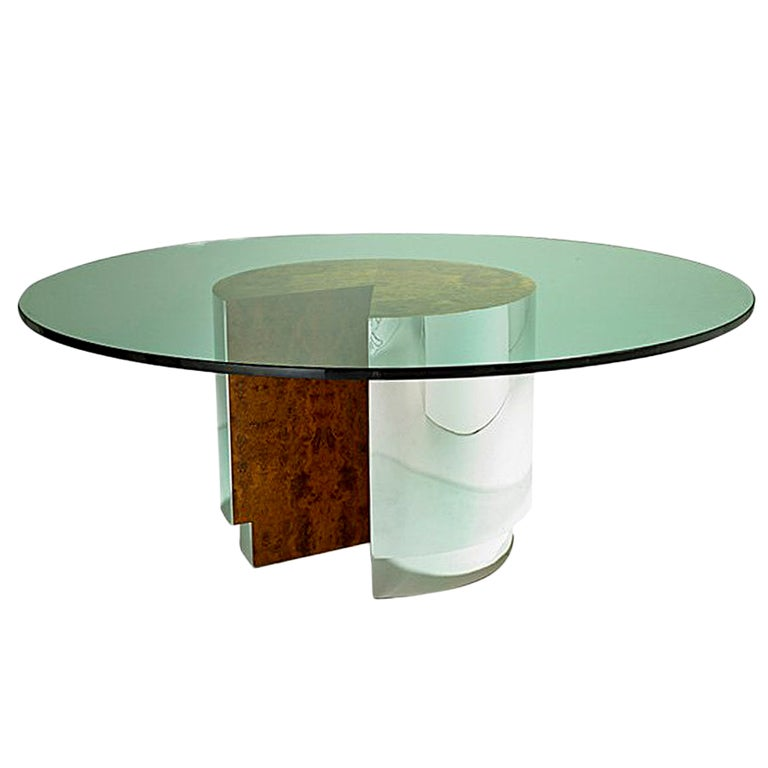 Large burl and chrome round dining table with glass top for Round glass and chrome dining table
