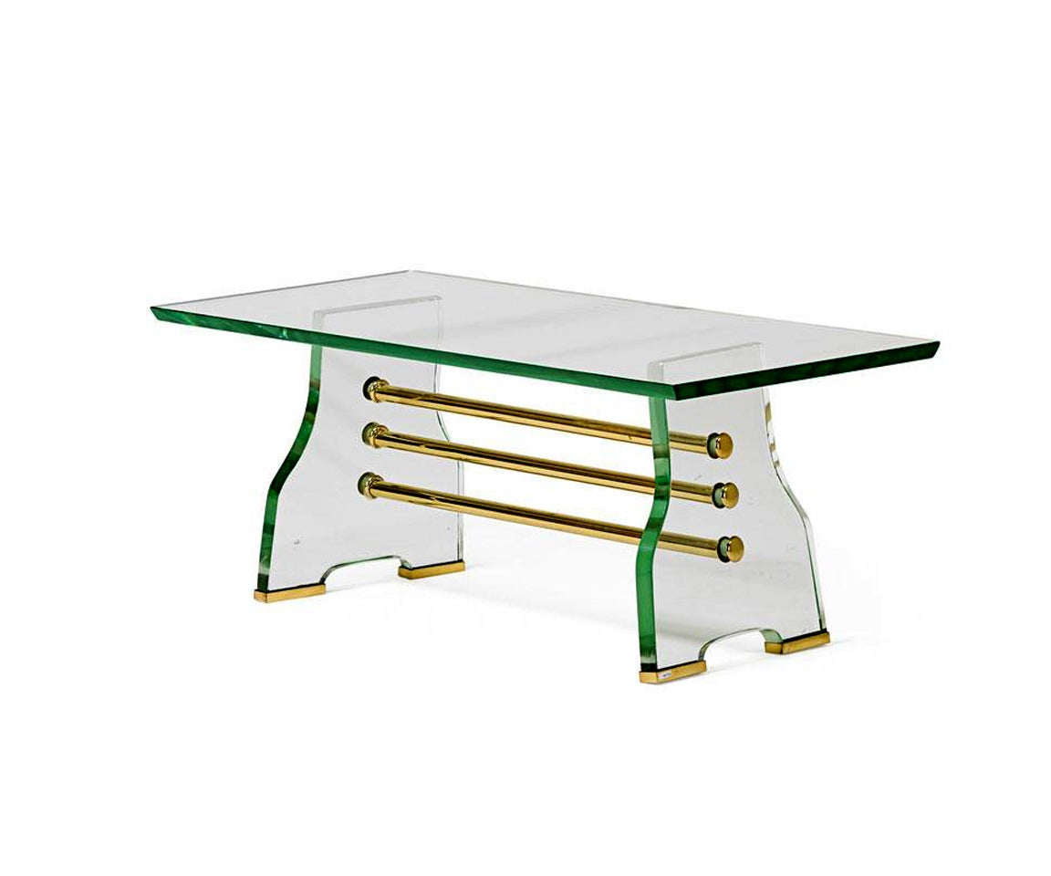 Italian Glass And Brass Coffee Table Image 3