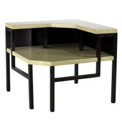Lacquered Cork Top Corner Table Paul Frankl for Johnson Co