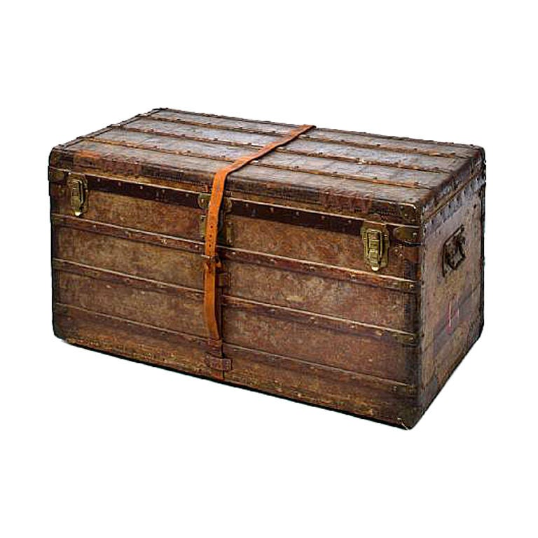 An Early Vintage Louis Vuitton Steamer Trunk Large For