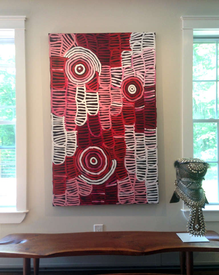 Canvas Australia Aboriginal painting Awelyewe- Atnwengerrp Dreaming by Minnie Pwerle For Sale