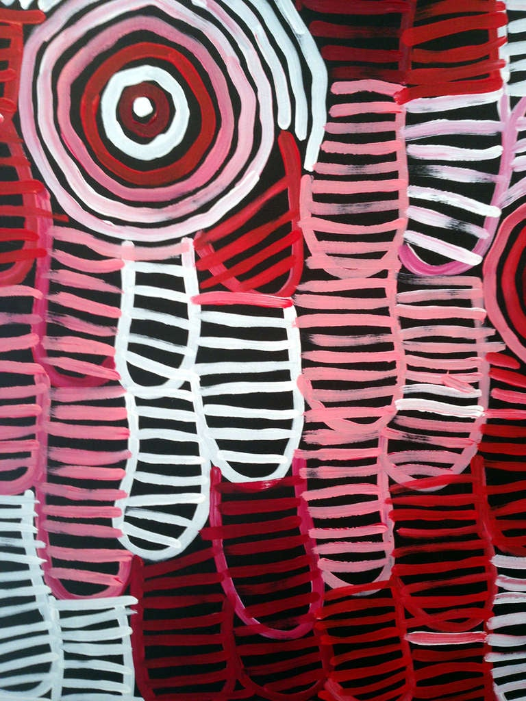 Modern Australia Aboriginal painting Awelyewe- Atnwengerrp Dreaming by Minnie Pwerle For Sale