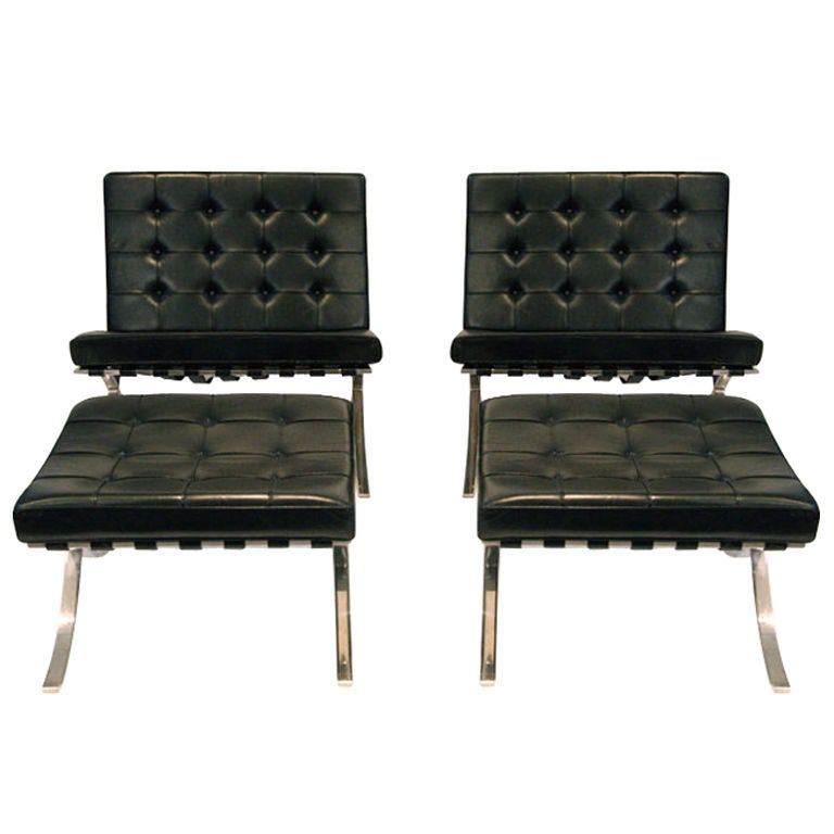 pair vintage original knoll barcelona lounge chairs and ottomans at