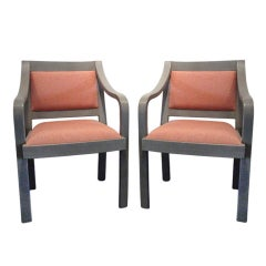 Pair lizard skin covered Karl Springer arm chairs