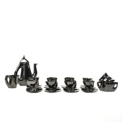 Vintage Mid-Century French, Vallauris Tea Service in Black