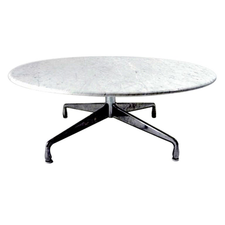 vintage eames aluminum base marble top coffee table at 1stdibs. Black Bedroom Furniture Sets. Home Design Ideas