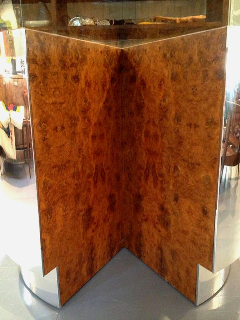 Modern Large Burl And Chrome Round Dining Table With Glass Top Milo Baughman
