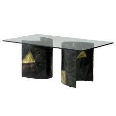 Dining table with welded steel base Paul Evans
