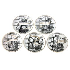Set of five coasters or small plates Piero Fornasetti