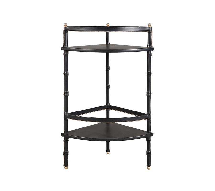 leather wrapped and stitched corner shelf brass table at. Black Bedroom Furniture Sets. Home Design Ideas
