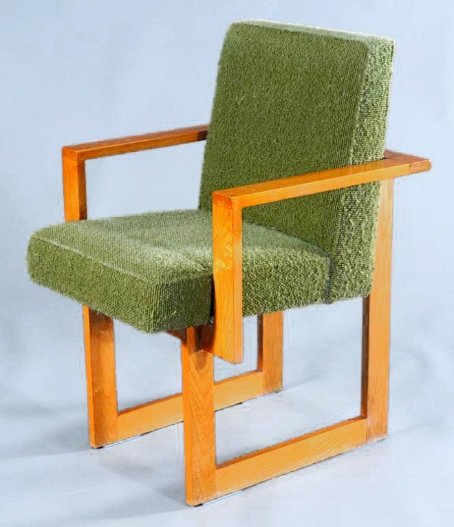 Set of six unusual oak cubist dining chairs vladimir kagan for Unusual oak dining tables