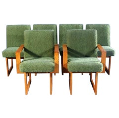 Set of Six unusual Oak Cubist dining chairs Vladimir Kagan